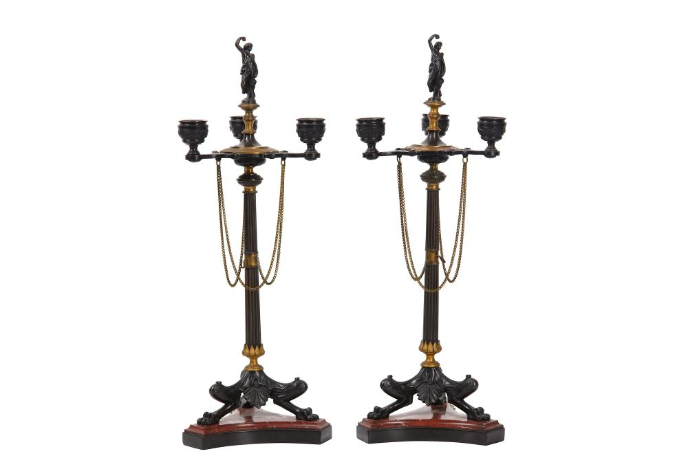 ATTRIBUTED TO FERDINAND BARBEDIENNE: A PAIR OF LATE 19TH CENTURY FRENCH GILT AND PATINATED BRONZE CA