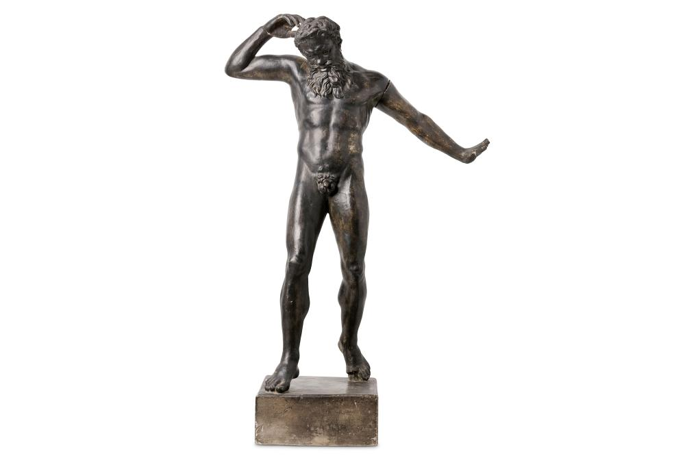 AFTER THE ANTIQUE: A LARGE LATE 19TH / EARLY 20TH CENTURY PATINATED PLASTER FIGURE OF MARSYAS