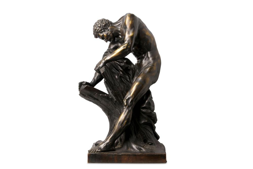 AFTER EDME DUMONT (FRENCH, 1722-1775): A LARGE LATE 19TH CENTURY BRONZE OF MILO OF CROTON