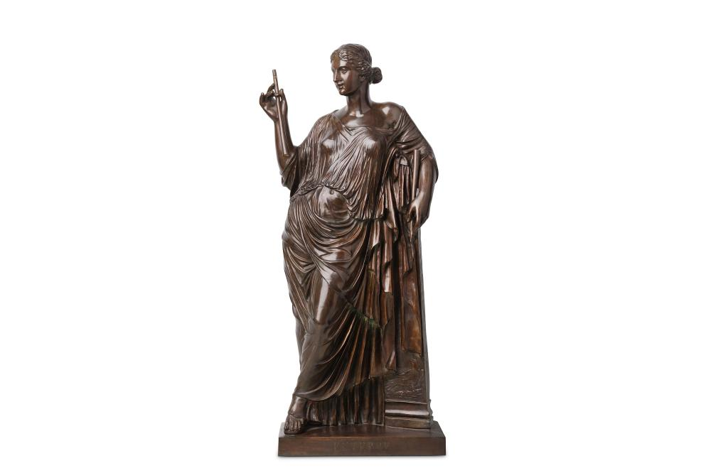 AFTER THE ANTIQUE: A LARGE LATE 19TH CENTURY FRENCH BRONZE FIGURE OF EUTERPE