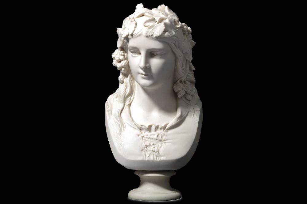 AFTER JOSEPH DURHAM (BRITISH, 1814-1877):  A COPELAND PARIAN PORCELAIN BUST OF 'THE HOP QUEEN'