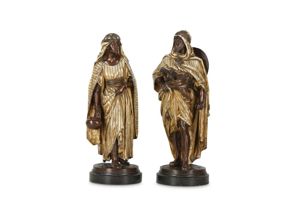 JEAN JULES SALMSON (FRENCH, 1823-1902): A PAIR OF COLD PAINTED BRONZE FIGURES OF ARABS, 'LA PORTEUSE