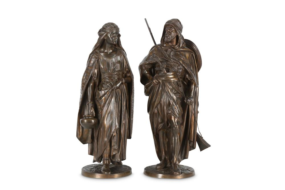 JEAN JULES SALMSON (FRENCH, 1823-1902): A PAIR OF BRONZE FIGURES OF ARABS, 'LA PORTEUSE' AND 'LE GUE