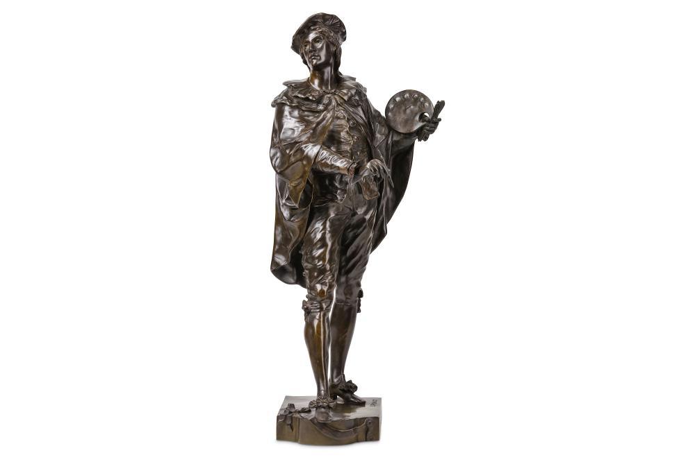 ÉMILE LOUIS PICAULT (FRENCH, 1833-1915): A BRONZE FIGURE OF AN ARTIST