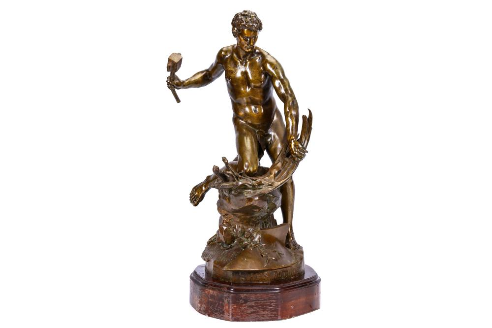 JEAN-BAPTISTE BELLOC (FRENCH, 1863-1919): A LARGE BRONZE FIGURE OF A MALE NUDE CAST BY SUSSE FRERES,
