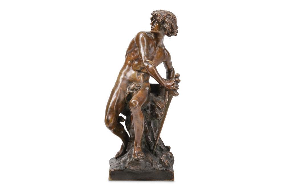 HENRI-HONORE PLE (FRENCH, 1853-1922): A BRONZE FIGURE OF DAVID