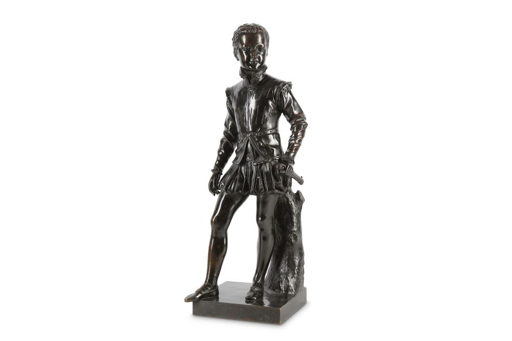 AFTER BARON FRANCOIS JOSEPH BOSIO (FRENCH, 1768-1845): A LARGE LATE 19TH CENTURY BRONZE FIGURE OF TH