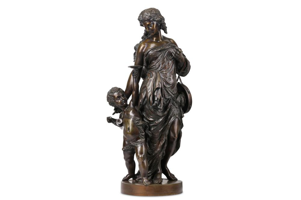 A LARGE 19TH CENTURY FRENCH BRONZE FIGURE OF A BACCHANTE MAIDEN WITH A PUTTO IN THE MANNER OF CLODIO