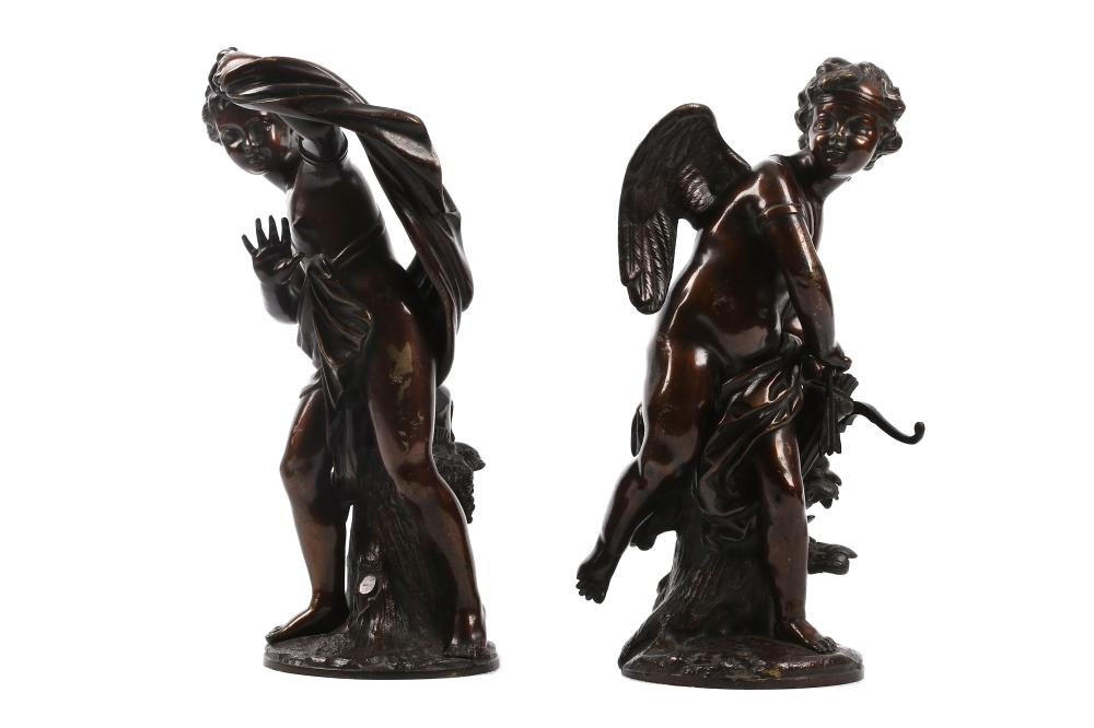 A PAIR OF MID 19TH CENTURY FRENCH BRONZE FIGURES OF CUPID AND PSYCHE