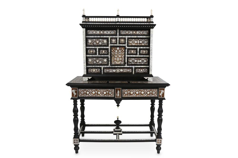 A FINE LATE 19TH CENTURY ITALIAN EBONISED AND IVORY INLAID CABINET ON STAND IN THE MANNER OF FERNAND