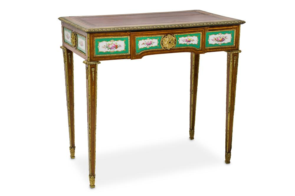 A FINE LATE 19TH CENTURY FRENCH SATINWOOD, GILT BRONZE AND SEVRES STYLE PORCELAIN MOUNTED WRITING TA