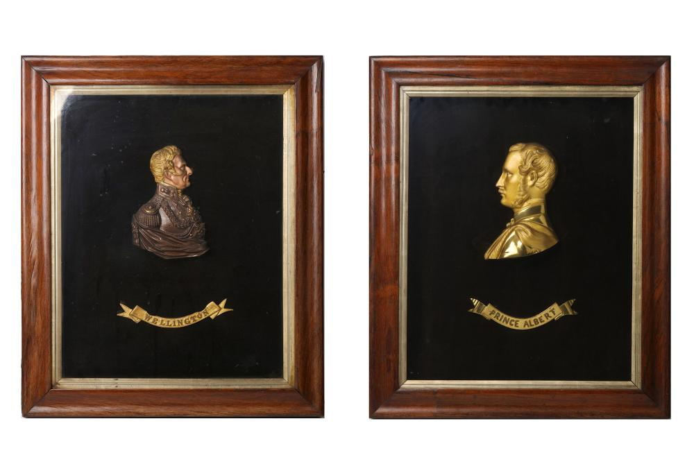 TWO 19TH CENTURY GILT AND PATINATED BRONZE PORTRAIT RELIEFS DEPICTING WELLINGTON AND PRINCE ALBERT