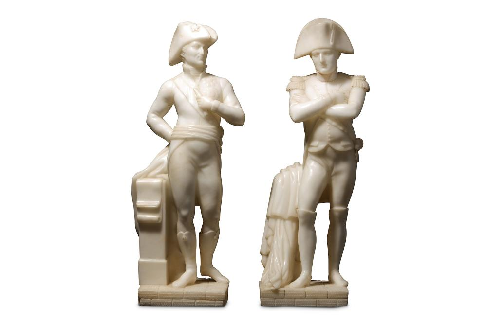 A RARE PAIR OF LATE 19TH CENTURY CARVED ALABASTER FIGURES OF NAPOLEON AND THE DUKE OF WELLINGTON