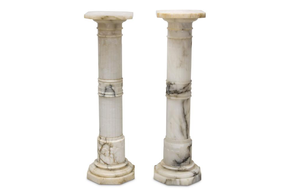 A PAIR OF LATE 19TH CENTURY ITALIAN CARVED ALABASTER COLUMNS