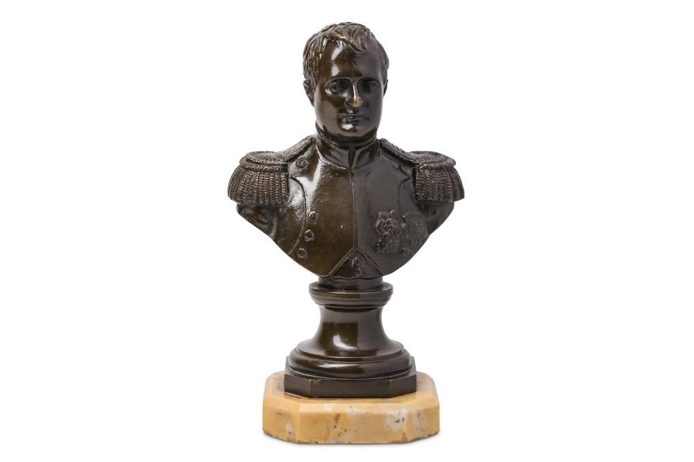 A 19TH CENTURY FRENCH BRONZE BUST OF NAPOLEON SIGNED 'POSY'