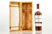 The Macallan 25 year old Highland Single Malt Scotch Whisky, Sherry cask, wooden boxed, with associated literature, 700ml, (43% ABV)