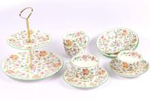 A Minton Haddon Hall pattern 54-piece part dinner and tea service, 20th Century, with typical stylised floral decoration (54)