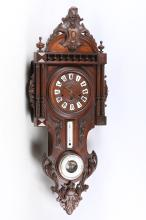 A French walnut clock barometer, late 19th Century, with a carved case, the three train movement chiming on gongs, 108cm high