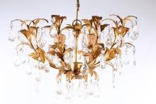 A decorative 8-branch chandelier by Christopher Wray, in 19th Century style,each arm with cut glass teardrops, with gilt metal leaves, 53cm diameter x 43cm high, plus ceiling mount 15cm high