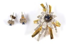 A sapphire and diamond flower brooch and pair of sapphire and diamond cluster earstuds (2)