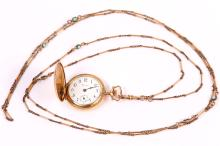 A pocket watch, by Crown with a turquoise-set watch chain (2)