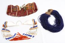 A group of Indian beaded pieces, including a Naga belt, a Konyak beaded necklace, and an Angami necklace (3)