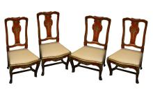 A set of four Venetian splat back dining chairs, 19th Century, red painted and gilt decorated,with drop in seats (4)