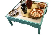 A Chinese low table with square top, 19th Century, now painted green, 95cm