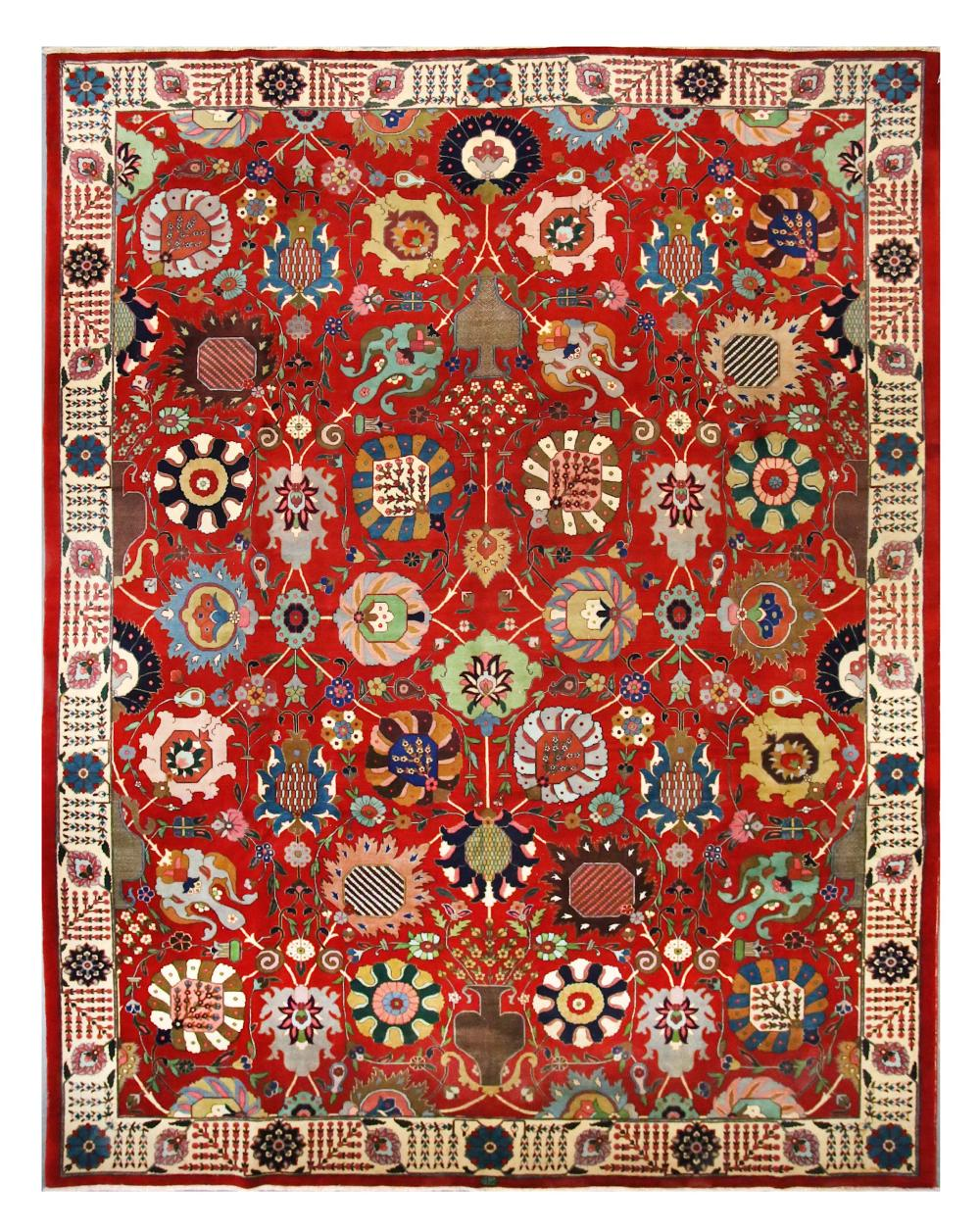 A Fine Tabriz Carpet North West Persia Approx 12ft 4in X