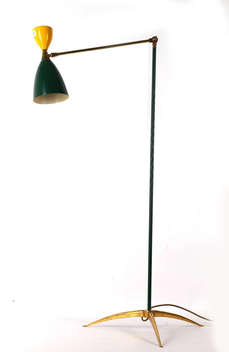 A 1960s italian floor lamp with green and yellow metal shad for Yellow metal floor lamp