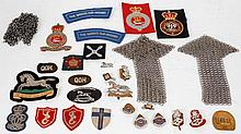 Queen's Own Hussars cloth badges, chain mail
