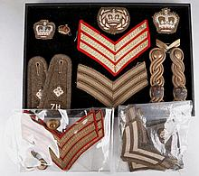 Military cloth badges of rank including 7th