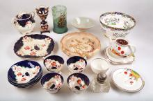 An interesting collection of ceramic and glass items, to include a Staffordshire part tea service in Tricorn patter, a Minton porcelain bowl decorated with fancy birds, a glass inkwell, a glass tankard painted with a galleon, a Chinese celadon bowl and a Crown Ducal part tea service (Qty).