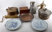 A burr walnut trinket box together with a pair of Chinese blue and white plates along with six items of Persian nature to include food vessels and a spice mill (9)