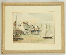 Attributed to Rowland Hilder P.P.R.I., O.B.E., 'The Prospect of Whitby'. Watercolour with pen. Bears signature. Mounted and framed. 26 x 36cm.