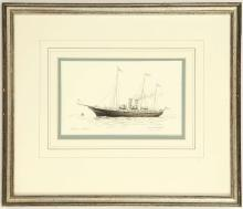 COLIN M. BAXTER. 'HMY Alexandra 1907-1925'. Gouache and watercolour with wash. Pencil signed and inscribed, Together with 'HMY Victoria & Albert 1855-1904', and 'HMY Victoria & Albert III 1899-1955'. All mounted and framed. 11cm x 17.5cm (2).