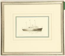 COLIN M. BAXTER. 'HMY Britannia' together with 'HMS Wellington 1934'. Watercolour and gouache. Signed and fully inscribed. Mounted and framed. 13cm x 20cm, and 11cm x 18cm (2).