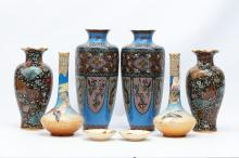 TWO PAIRS OF CLOISONNÉ VASES, A PAIR OF SATSUMA VASES AND TWO CUPS.