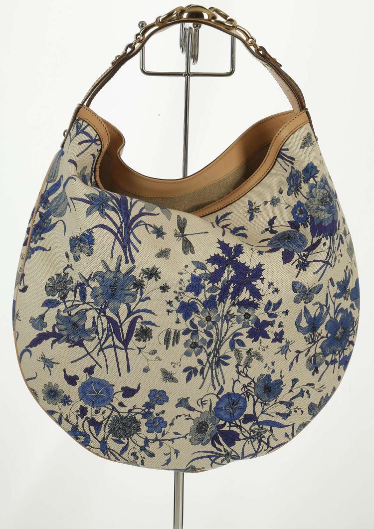 Gucci Blue Floral Canvas Hobo Handbag Blue Printed Canvas A