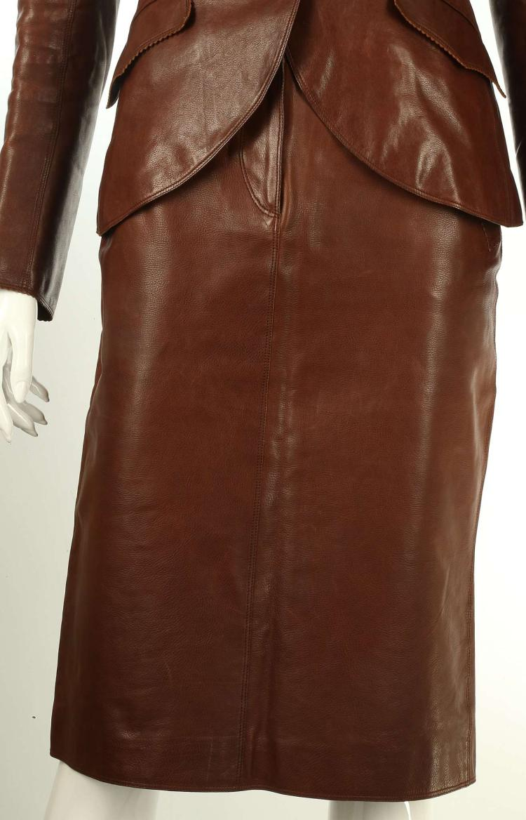 hermes brown leather skirt suit distressed leather with hor
