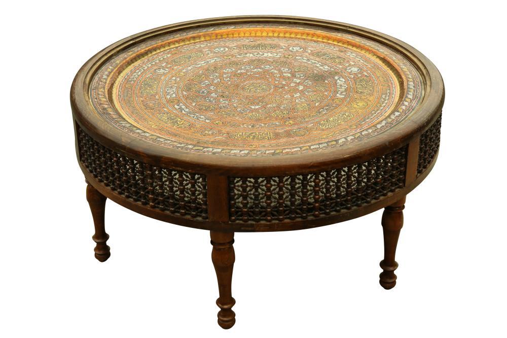 A CIRCULAR ORIENTALIST MASHRABIYA-STYLE OCCASIONAL TABLE Egypt, late 20th century