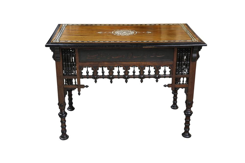 λ A HARDWOOD BONE, RESIN AND MOTHER-OF-PEARL-INLAID ORIENTALIST TABLE In the style of Giuseppe (Yusef) Parvis, Italy or Egypt, second half 19th century
