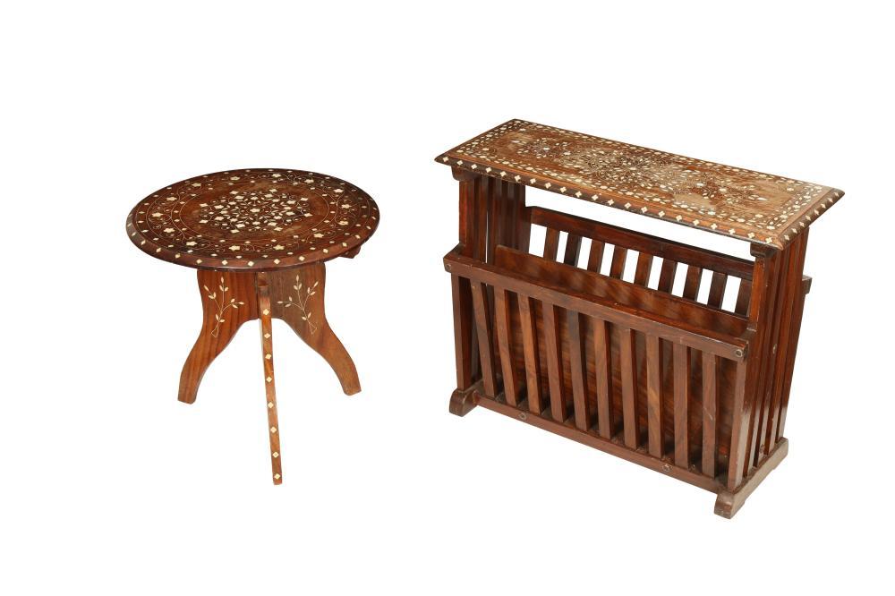 λ AN IVORY AND BONE-INLAID VIZAGAPATAM-STYLE MAGAZINE TABLE AND A SMALL FOLDING OCCASIONAL TABLE Possibly Andhra Pradesh, India, mid to late 20th century, made for the Western export market