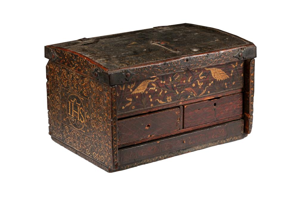 AN HISPANO-COLONIAL BARNIZ DE PASTO TABLE CABINET WITH THE 'IHS' CHRISTOGRAM Possibly Mexico or Colombia, Colonial Hispano-America, 17th - 18th century