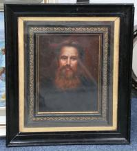 An oil painting portrait of English painter, Holman Hunt (b.1827 d.1910). Hunt was one of the founder of the Pre-Raphaelite Brotherhood. 23 x 17.5cm.