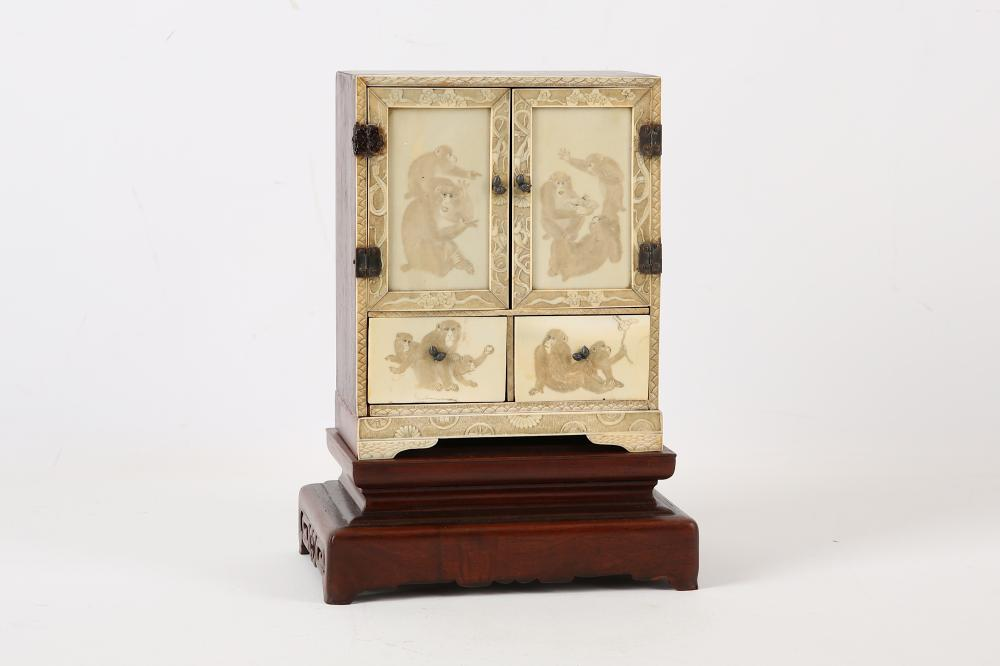 A carved Japanese ivory monkey cabinet, Meiji period, carved with monkey  groups on each - Japanese Cabinets, Armoires & Cupboards For Sale At Online Auction