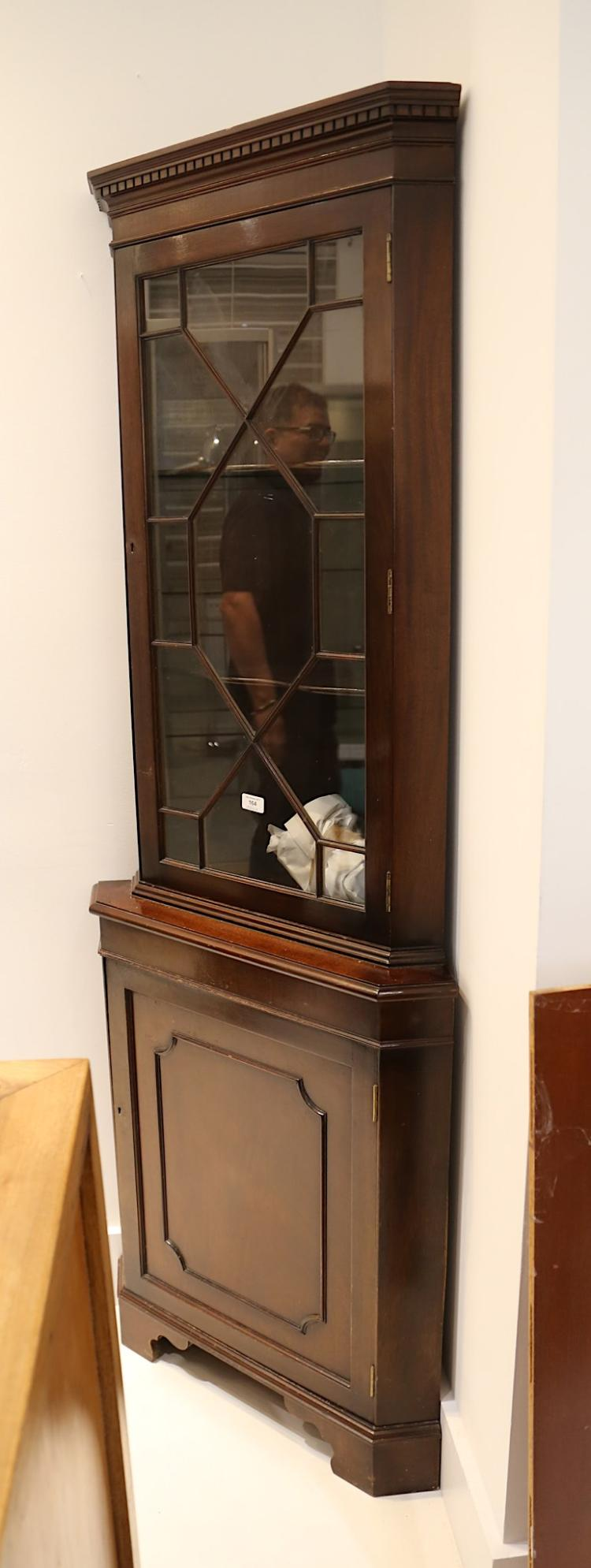 A reproduction mahogany glazed standing corner cabinet for Reproduction kitchen cabinets