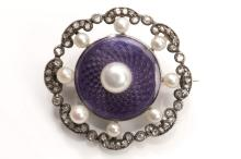 A pearl, enamel and diamond brooch, circa 1905  The purple guilloché enamel disc set with a 5.5mm bouton pearl, within a scalloped frame of rose-cut diamonds and seed pearls, pearls untested, length 2.7cm