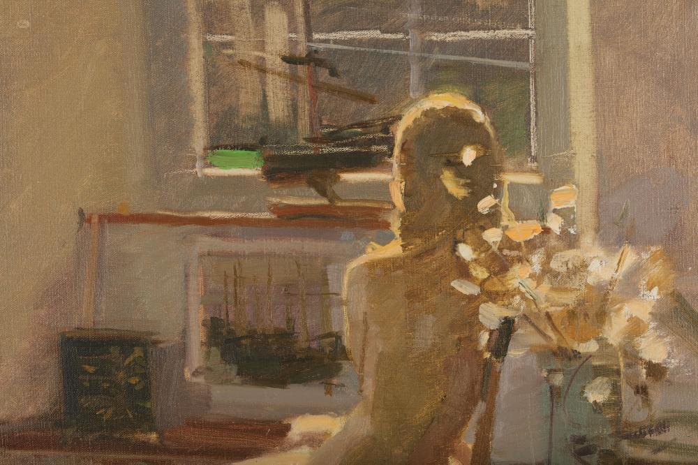 Modern Painting of Female Nude in Artists Studio by Ken