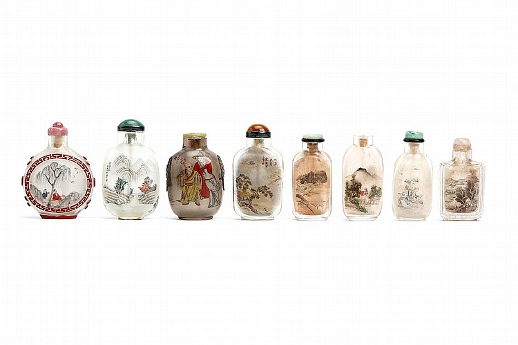 A COLLECTION OF EIGHT CHINESE INSIDE PAINTED SNUFF BOTTLES. 19th / 20th Century. One signed Si Min, one by Xue Chengcai, and one Le Tongke, 6 - 8cm H. (8) Provenance: Collection of Bernard Buckman (1910 – 1991). 19-20?? ???????????